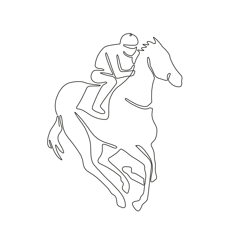 1000x1000 Jockey Horse Racing Continuous Line On Behance