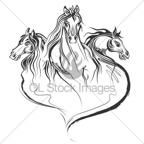 500x500 Tattoo Art Design Of Horse Racing In Line Art Gl Stock Images