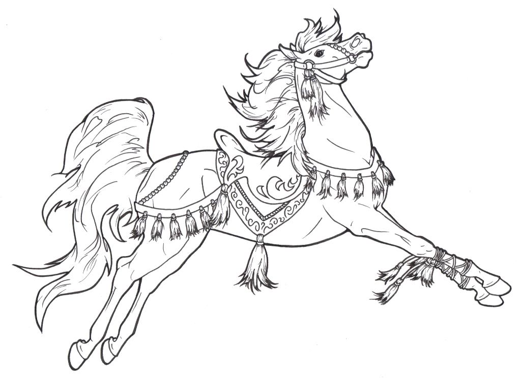 1024x748 Cinderella And Horse Coloring Page