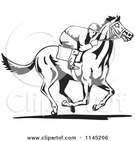 450x470 Clipart Of A Black And White Derby Jockey Racing A Horse 3