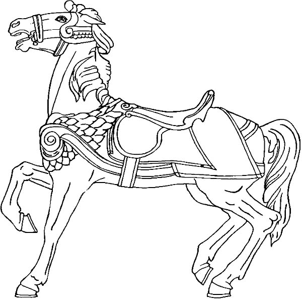 600x593 Carousel Horse Rearing Coloring Pages Best Place To Color