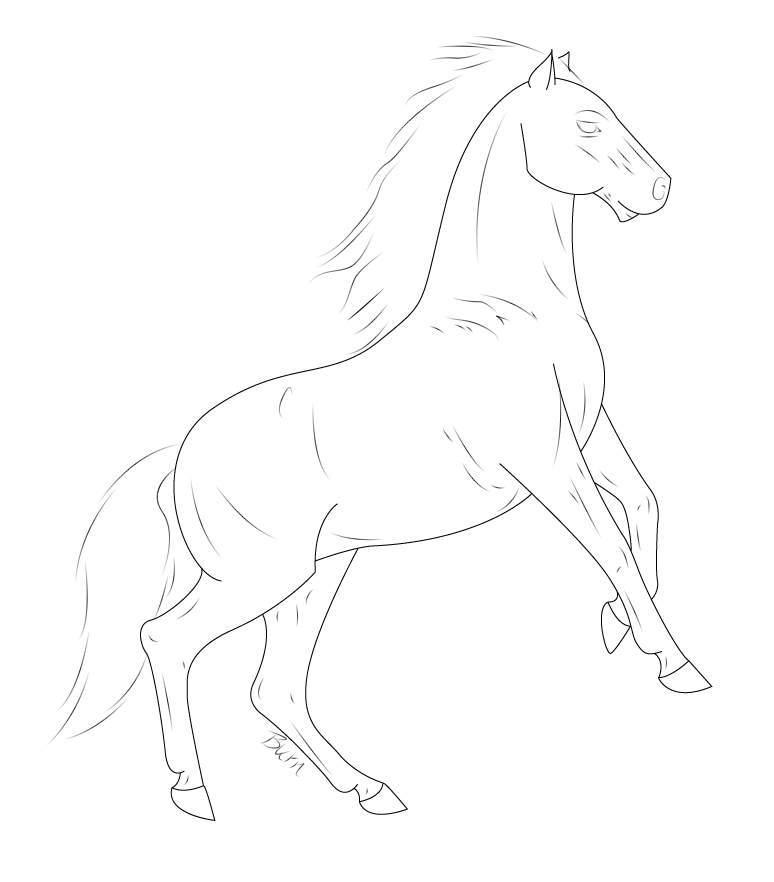 774x882 Free Rearing Horse Lineart By Painted In Grey