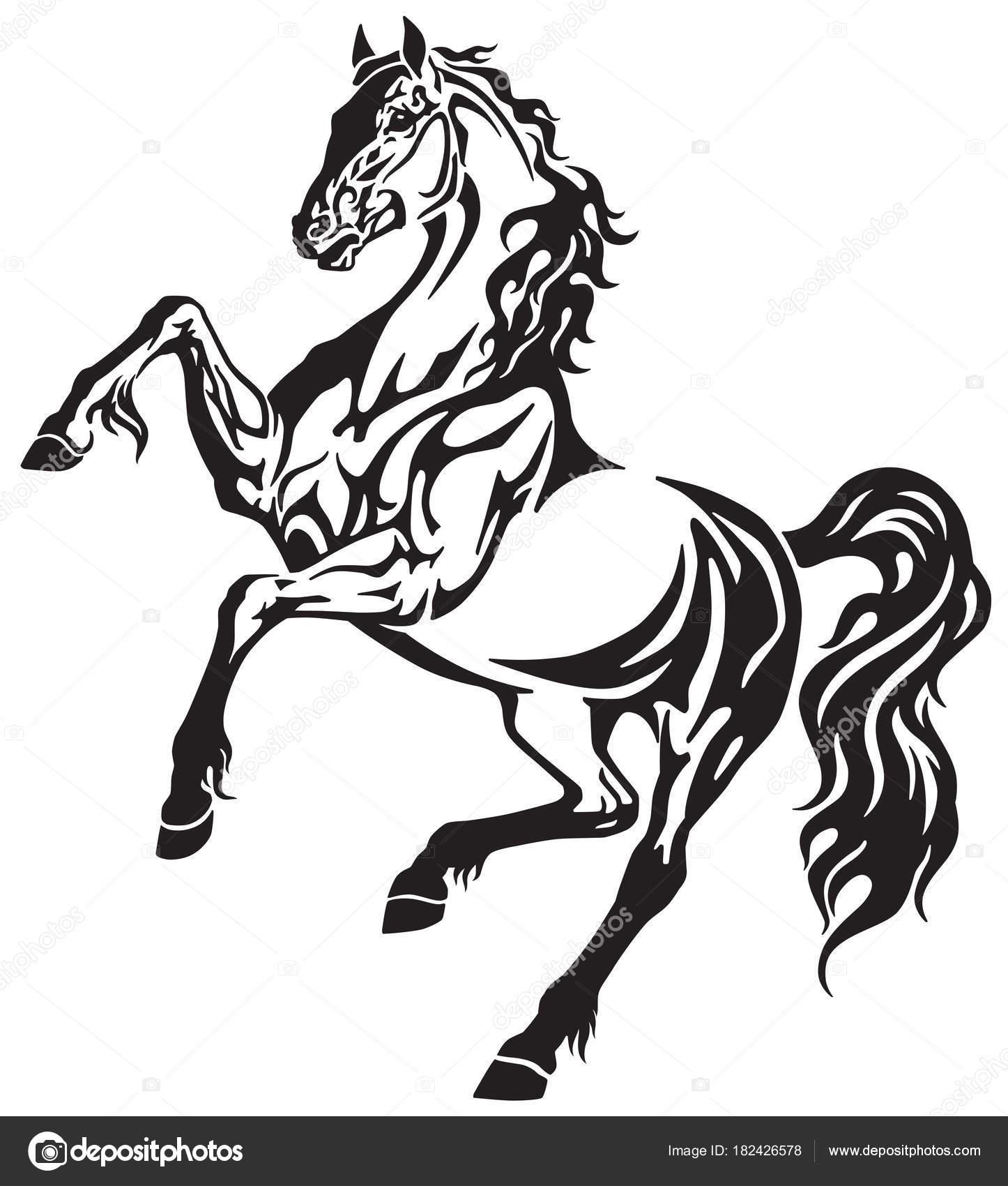 1446x1700 Horse Stallion Rearing Free Movement Elegant Tribal Tattoo Style
