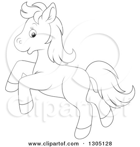 450x470 Lineart Clipart Of A Cartoon Black And White Happy Horse Pony
