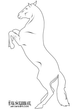 337x450 Rearing Horse Lineart By Evilscribbler