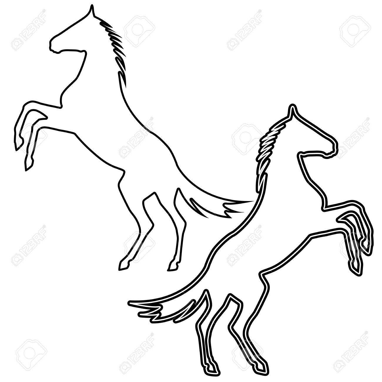 1300x1300 Rearing Up Horse Silhouette Royalty Free Cliparts, Vectors,