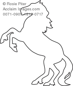 257x300 The Outline Of A Horse Rearing Up Royalty Free Clip Art Picture