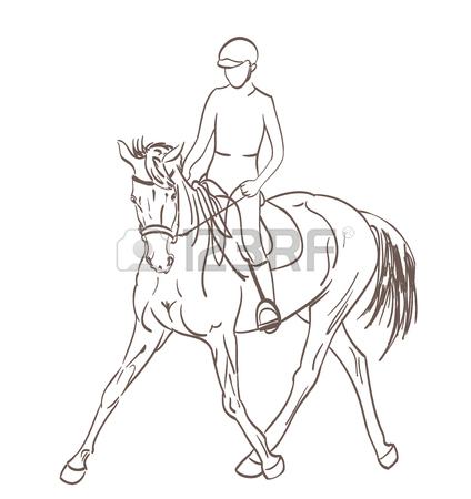 424x450 Horse Rider Sketch. Equestrian Training Theme Vector Illustration