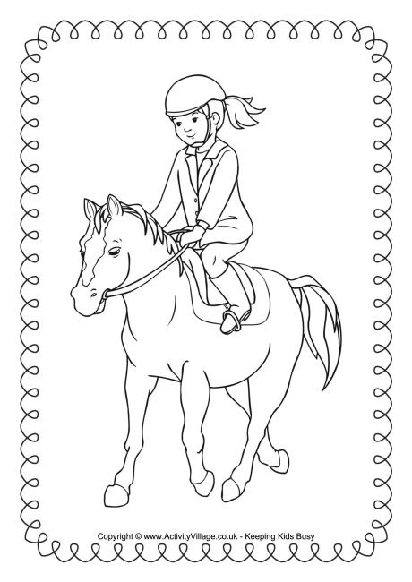 460x650 Horse Riding Colouring Page 2