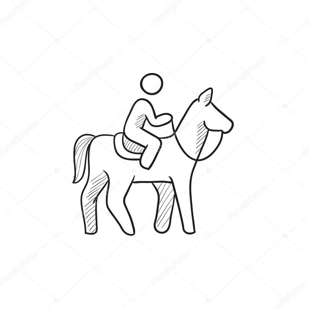 1024x1024 Horse Riding Sketch Icon. Stock Vector Rastudio