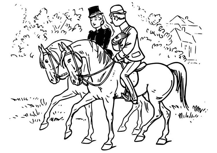 750x531 Coloring Page Horse Riding
