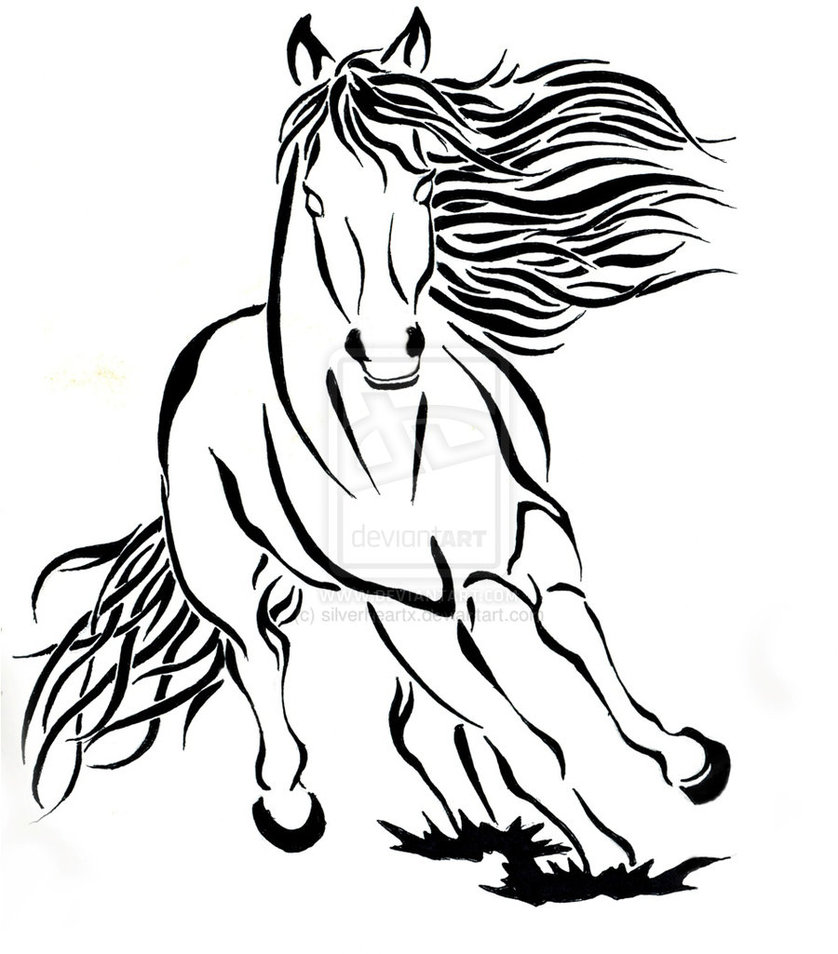 Horse Running Drawing