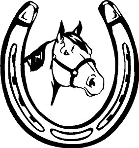 283x300 Horse Head In Horse Shoe Decal