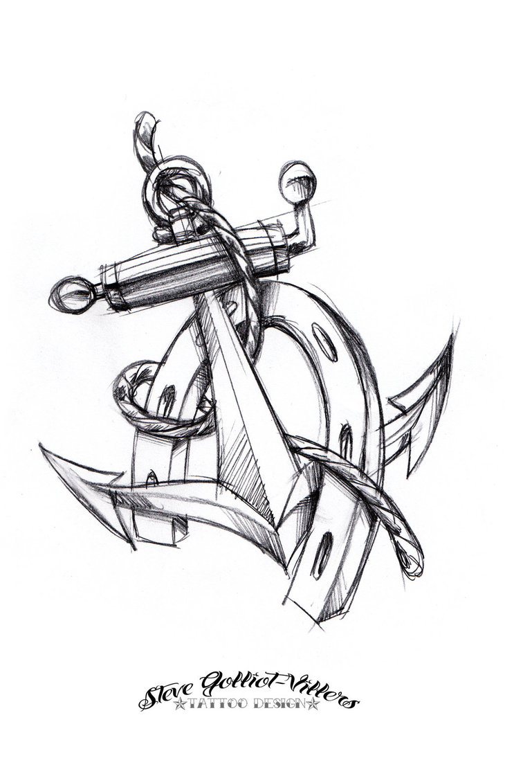 730x1095 Black And Grey Anchor With Horseshoe Tattoo Design By Steve