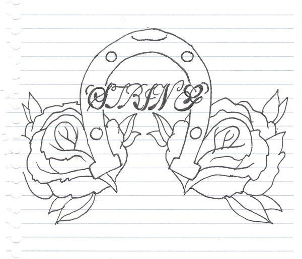 600x516 Horseshoe Tattoo Drawing