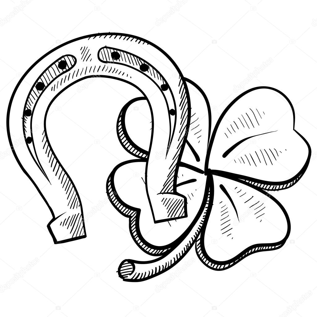 1024x1024 Lucky Horseshoe And Clover Sketch Stock Vector Lhfgraphics