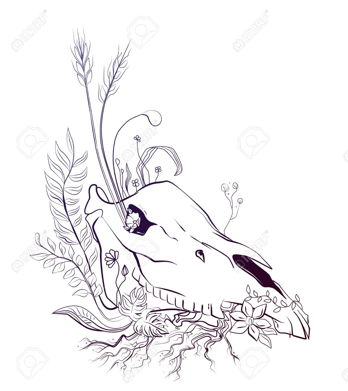 1155x1300 Life And Death Symbolic Graphic Composition With Horse Skull