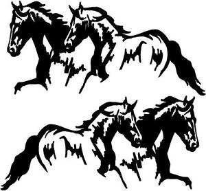 300x278 2 Running Horses Vinyl Decal Stickers Horse Trailer Truck 10x20