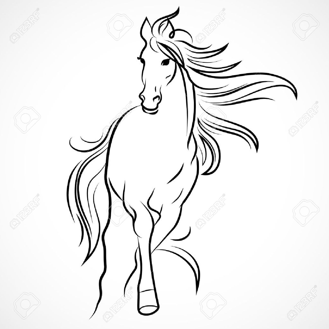 1300x1300 Silhouette Of Horse. Vector Linear Drawing Royalty Free Cliparts