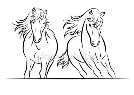 450x322 Silhouette Of Horse. Vector Linear Drawing. Stock Vector