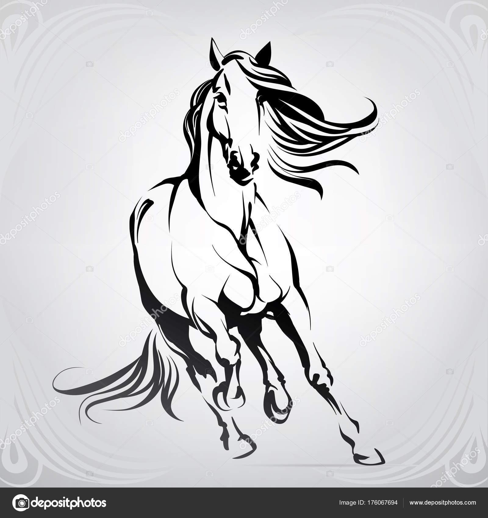 1600x1700 Vector Silhouette Running Horse Stock Vector Nutriaaa