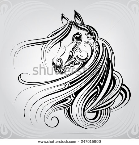 450x470 Vector Silhouette Of A Horse's Head In The Ornament Artwork