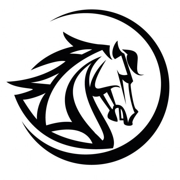 626x626 Black Horse Head Vector Illustration Download Free Vector