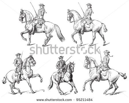 450x358 Equestrianism (Horseback Riding) Vintage Illustration