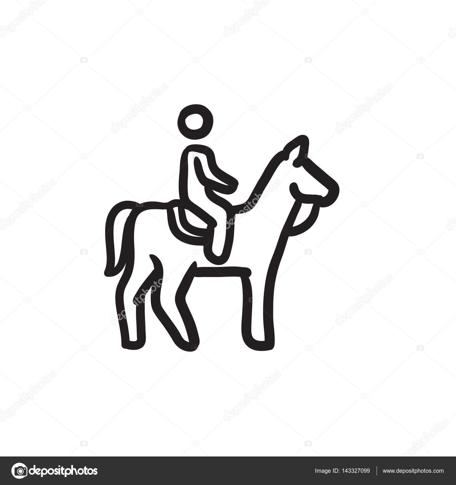 1600x1700 Horse Riding Sketch Icon. Stock Vector Rastudio
