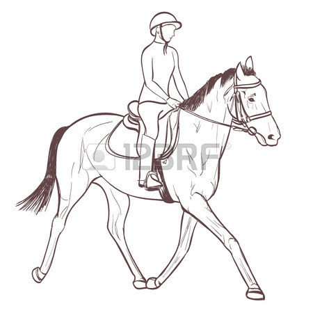 450x450 A Horse Rider Drawing. Equestrian Training Line Art Illustration
