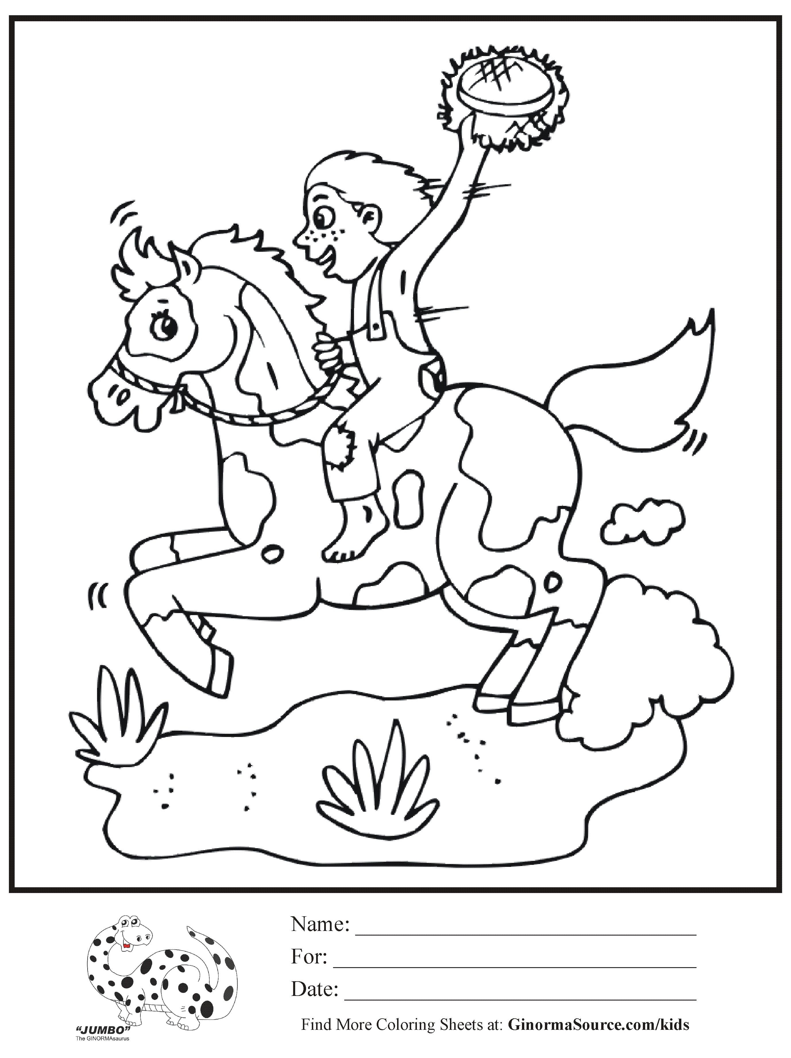 2755x3681 Coloring Page Horseback Riding Boy