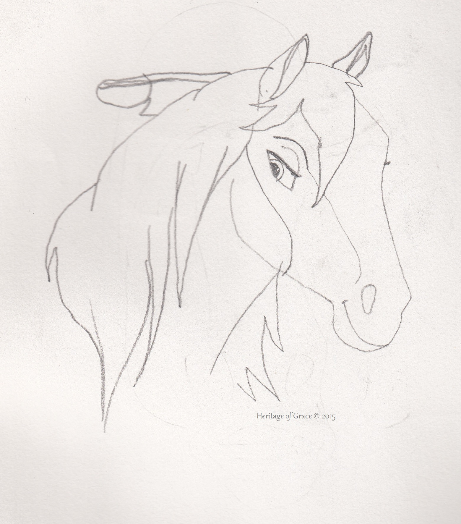 Horses Easy Drawing