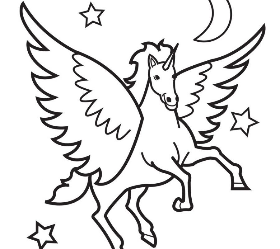 900x800 Pegasus Flying Horse Coloring Page Art Free Printable Pages Kids