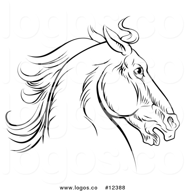 600x620 Royalty Free Vector Logo Of A Black Engraved Horse Head By
