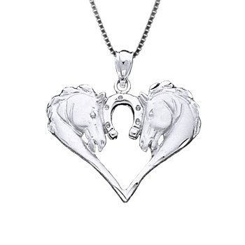 350x350 Sterling Silver Horse Heads Heart Necklace