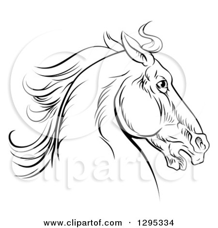 450x470 Clipart Of A Black Engraved Horse Head Facing Right