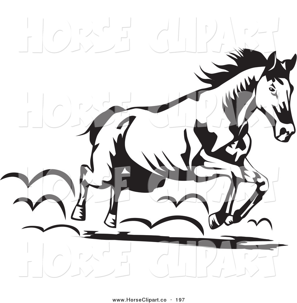 1024x1044 Clip Art Of A Black And White Running Horse Moving To The Right By