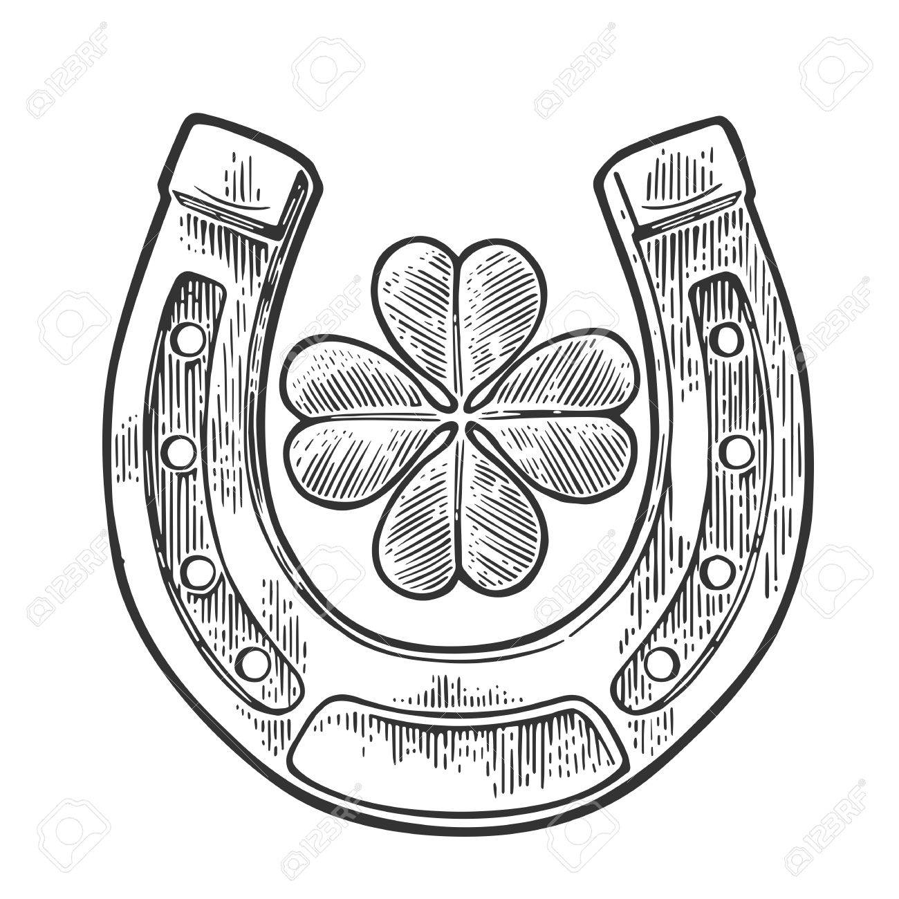 1300x1300 Good Luck Four Leaf Clover And Horseshoe. Vintage Vector Engraving