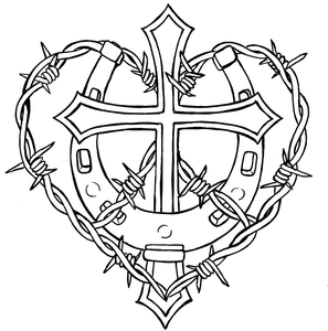 297x300 Cross And Horseshoe With Barbed Wire Tattoo Design Free Images