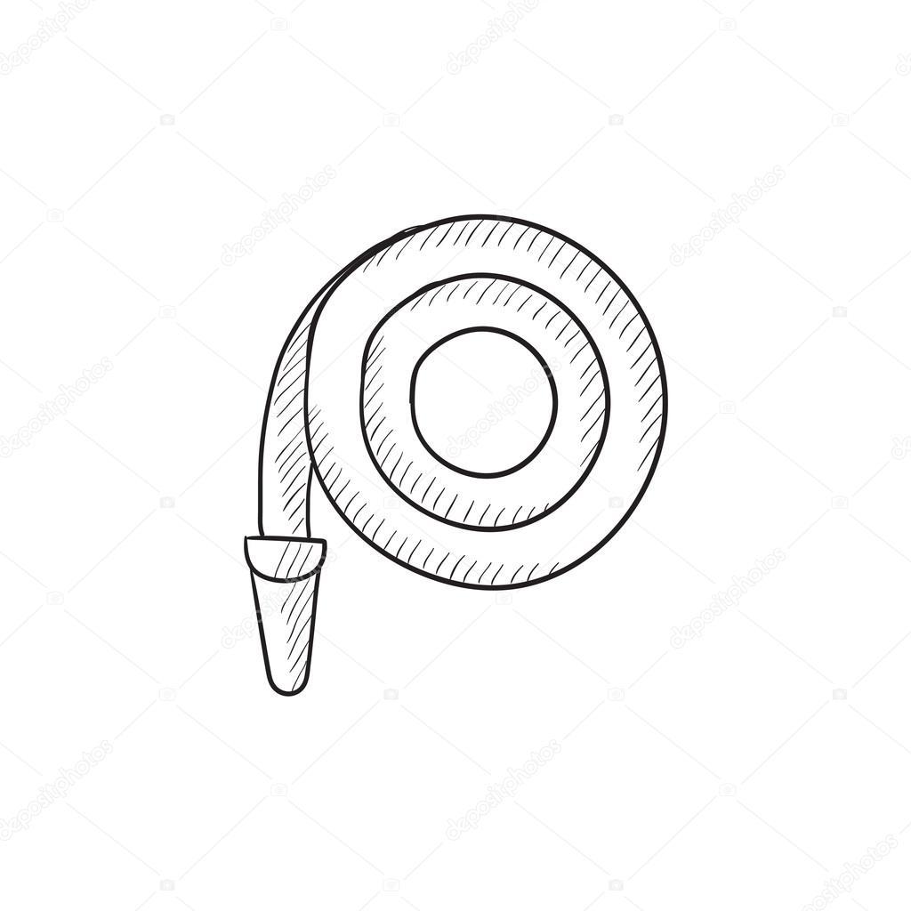 1024x1024 Firefighter Hose Sketch Icon. Stock Vector Rastudio