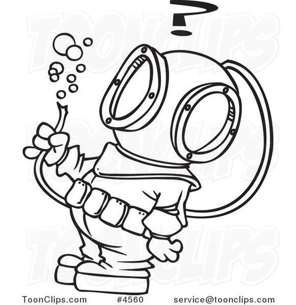 581x600 Cartoon Black And White Line Drawing Of A Diver Looking