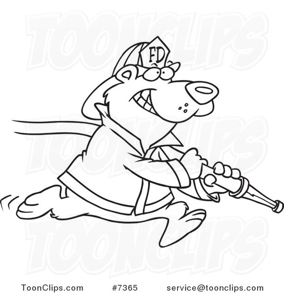 581x600 Cartoon Black And White Line Drawing Of A Fire Fighter Bear