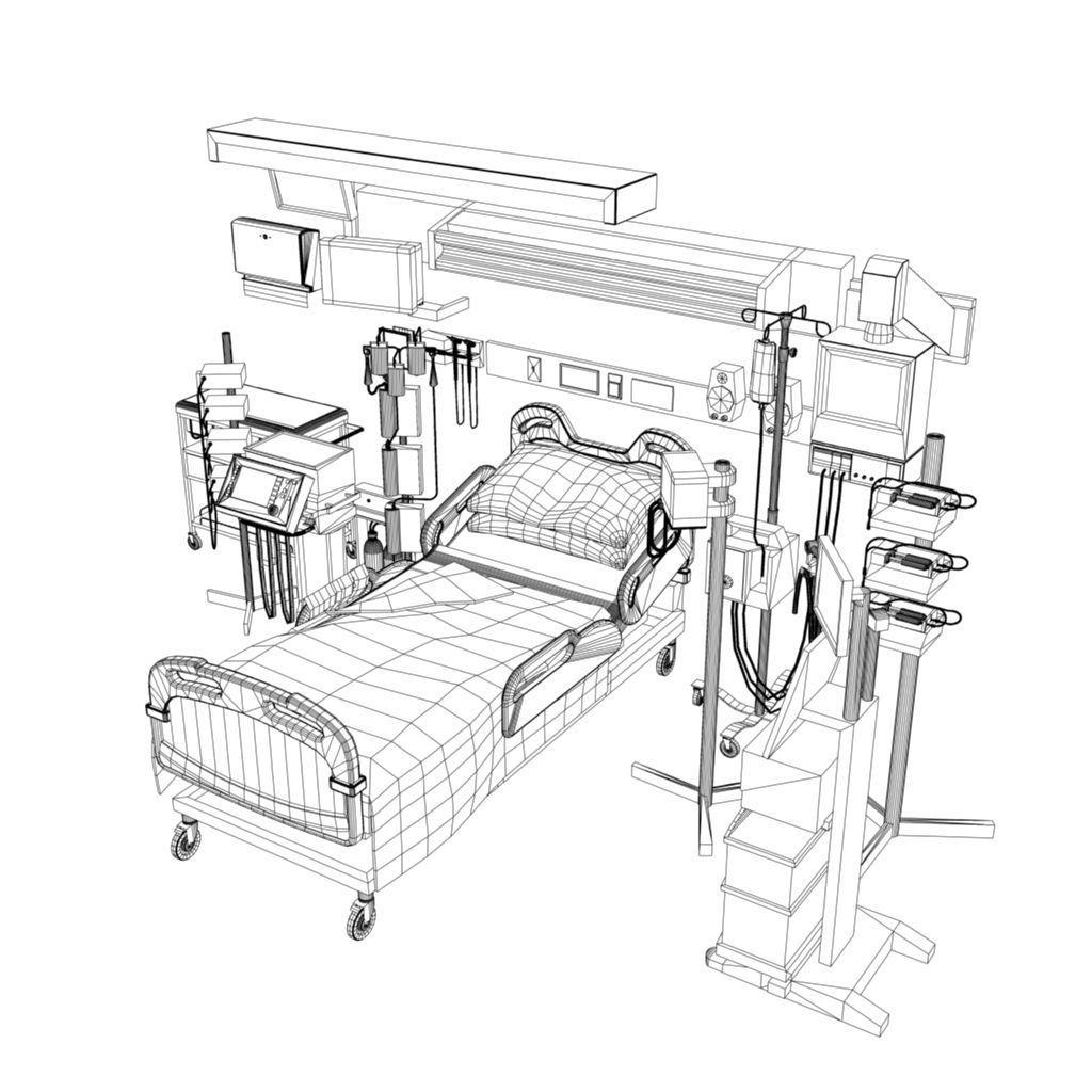 1024x1024 3d Asset Hospital Ward Bed Cgtrader