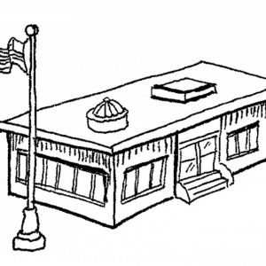 300x300 Coloring Pages Of School Buildings Copy Restaurant School Police