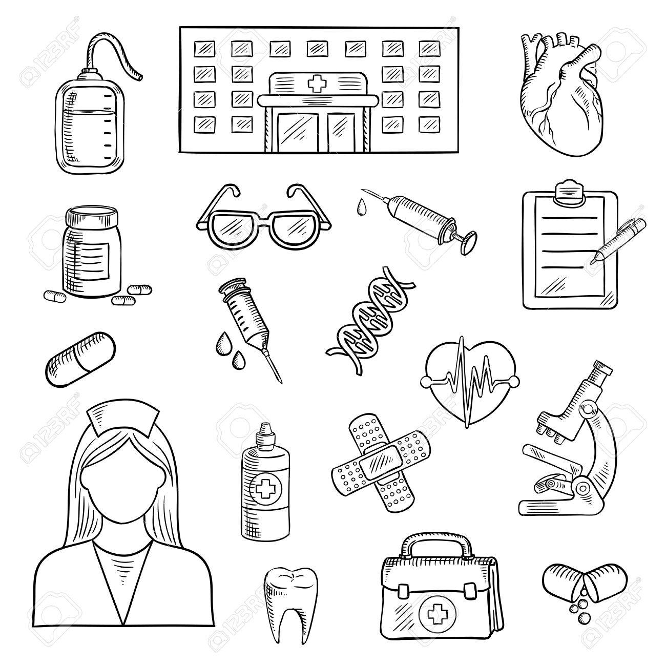 1300x1300 Medical Sketched Icons Of Hospital Building, Doctor And First