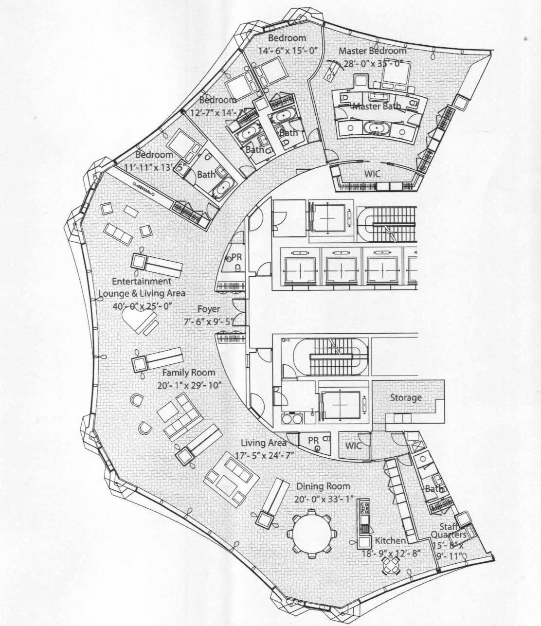 1112x1287 Penthouses In Chicago Floor Plans Spired Condo Tower'S