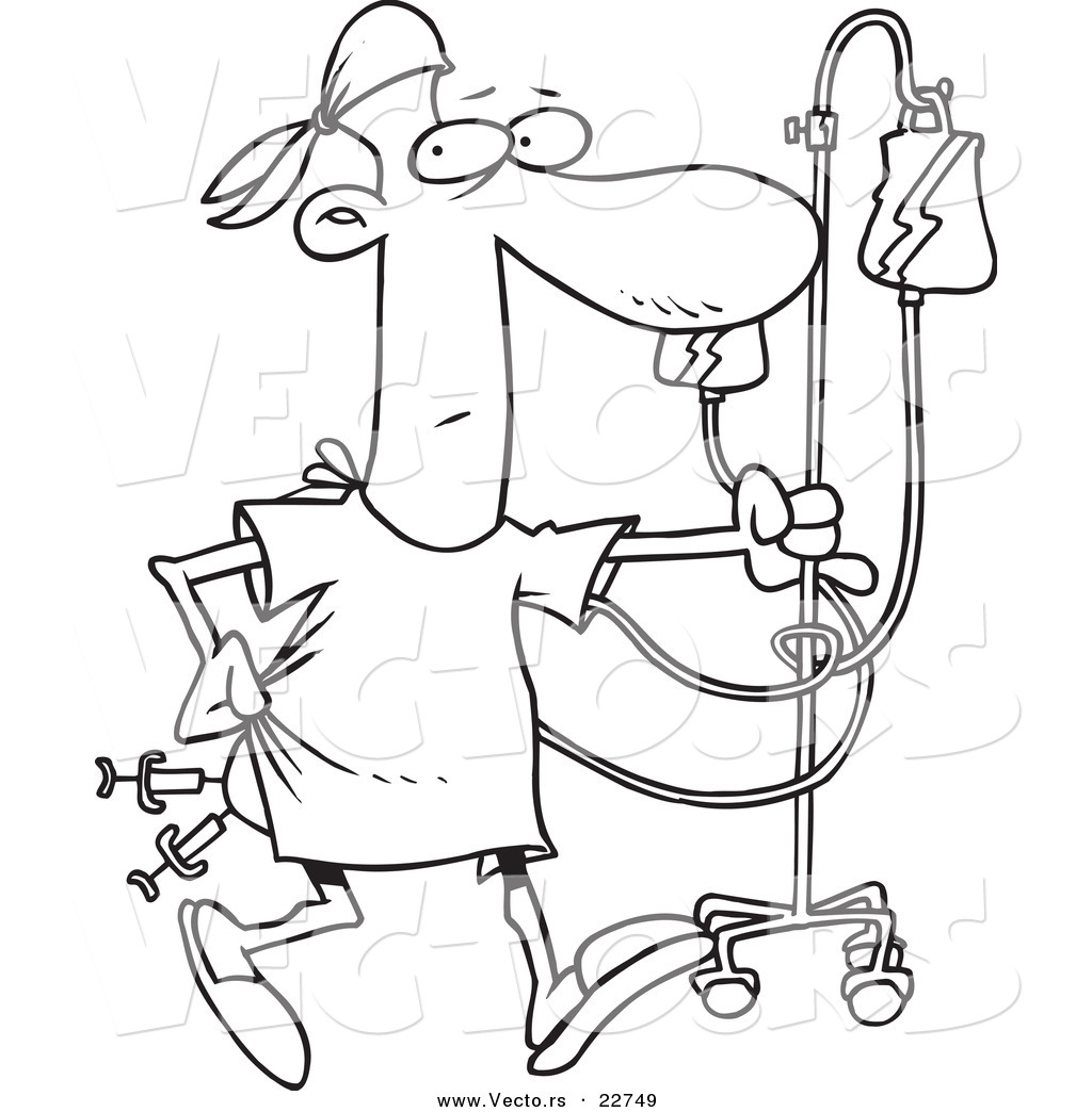1024x1044 Vector Of A Cartoon Hospital Patient With Needles In His Butt