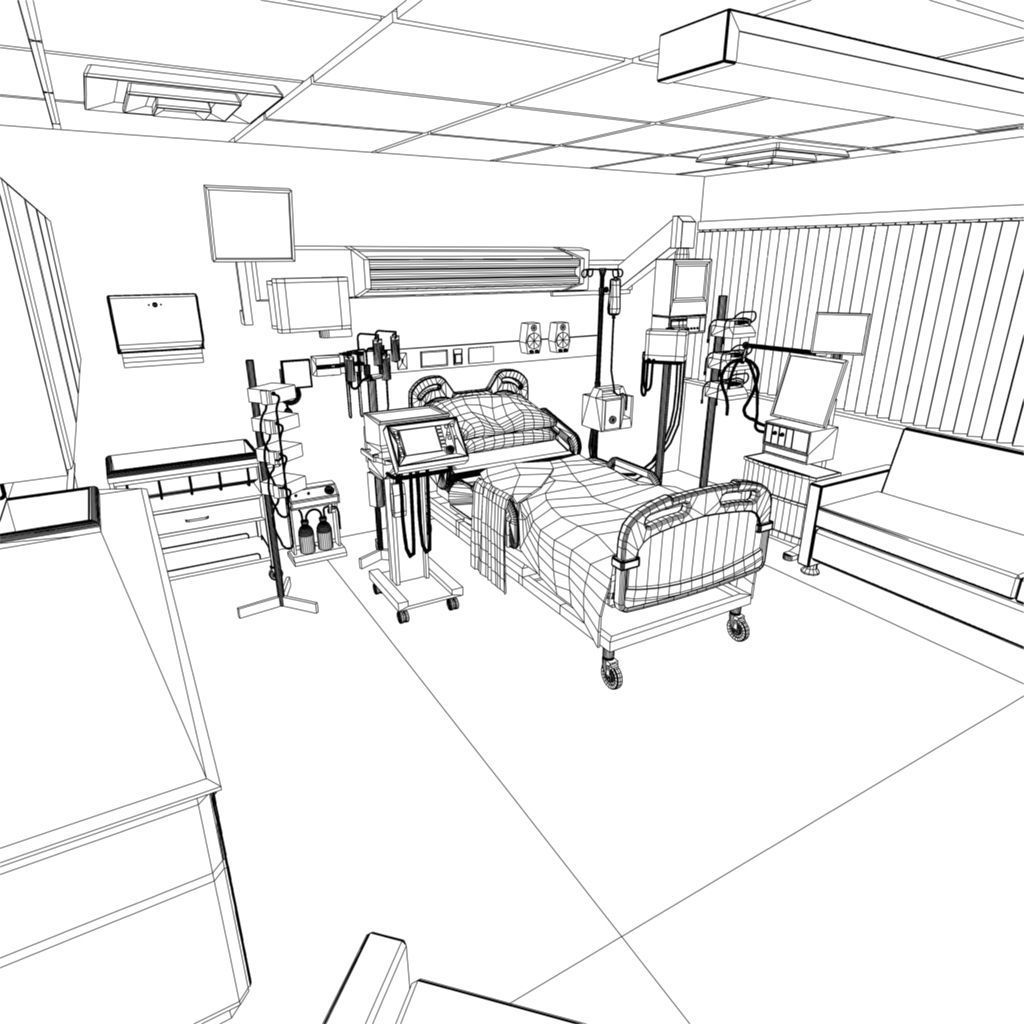 1024x1024 3d Model Hospital Recovery Room Cgtrader