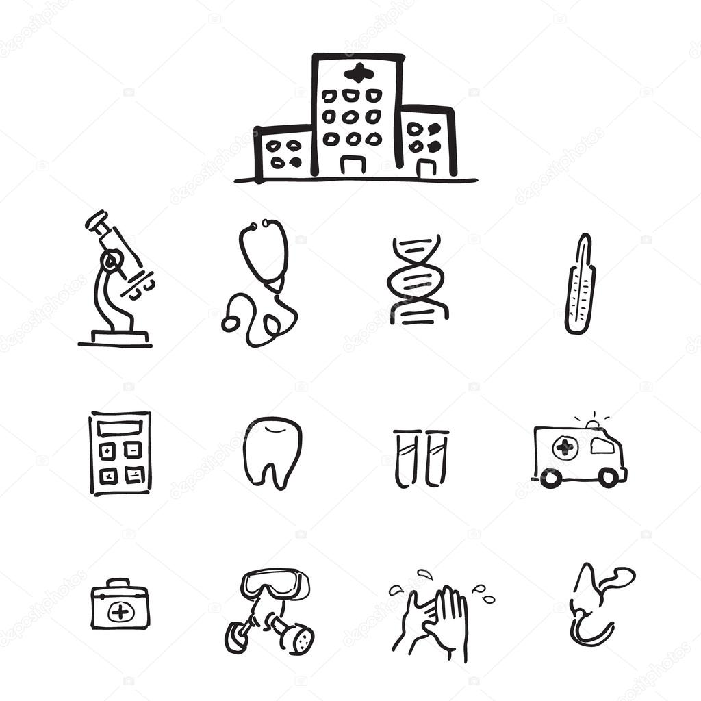 1024x1024 Hospital Equiptment Drawing Icons Set Stock Vector Tawesit