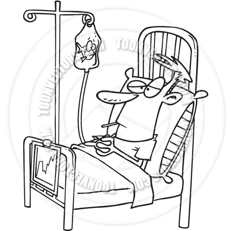460x460 Cartoon Hospital Patient (Black And White Line Art) By Ron